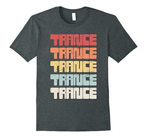 Mens Retro Distressed Trance Music T-Shirt XL Dark Heather (Music Trance T-shirts)