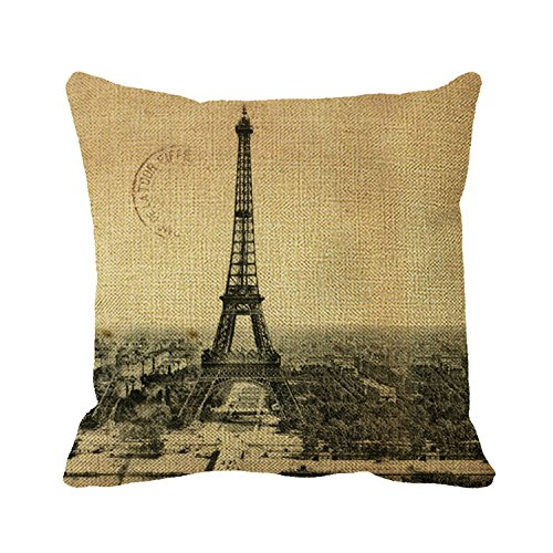 Goodaily Pillowcase Rare Vintage Postcard with Eiffel Tower in Paris Throw Pillow Cover for Sofa Or Bedroom