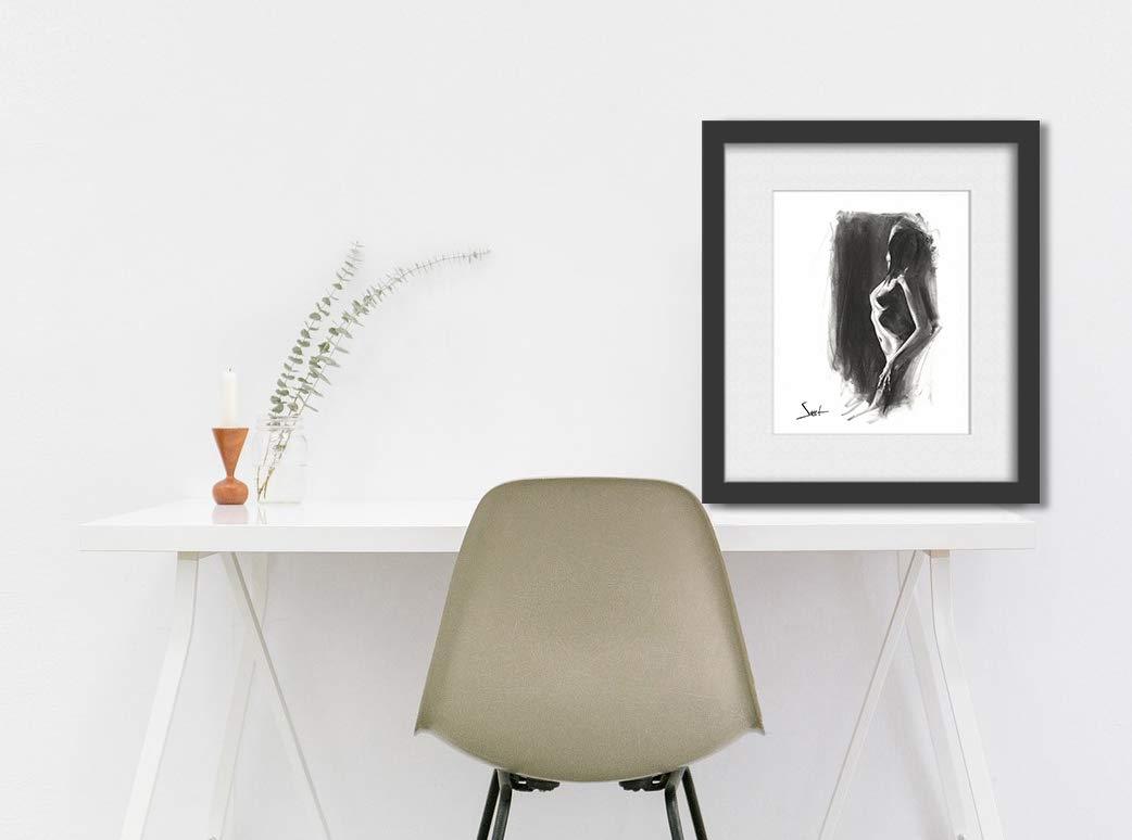 Sexy Art, Nude Art Print, Naked Girl, Figurative Art, Figure Drawing, Charcoal Drawing, Erotic Art