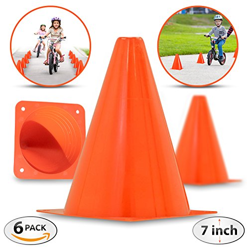 briteNway 7-Inch Plastic Traffic Cones By (6-Pack) | Orange, Multipurpose Construction Theme Party Cones For Various Activities & Events| Perfect For Kid Parties, Indoor, Outdoor & Festive Events (Plastic Cones Traffic)