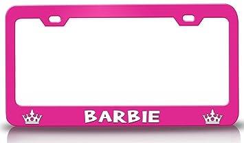 barbie princess girly girl steel metal license plate frame pink