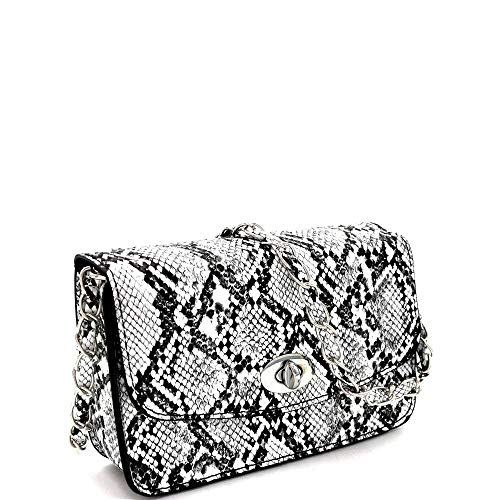 Snake Print Turn-Lock Accent Flap Cross Body Neon Colors