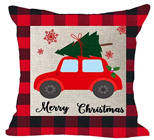 - Modern Red and Black Checkered Plaid Pattern Car Carry Christmas Tree Christmas Holiday Day Cotton Linen Square Throw Waist Pillow Case Decorative Cushion Cover Pillowcase Sofa 18x18 inches