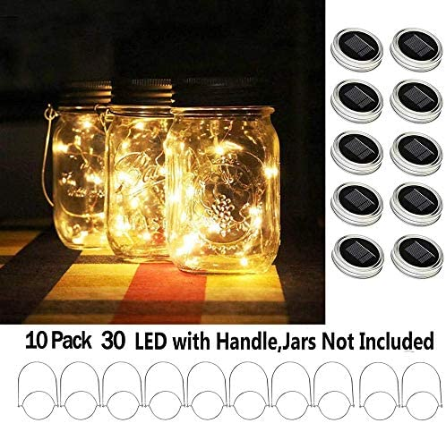 Shelley Solar Mason Jar Lid Lights,10 Pack 30 LEDs Hanger Included String Fairy Lights Solar Laterns Table Lights,Great Outdoor Lawn Decor for Patio Garden, Yard No Jars Warm White