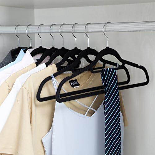 Songmics Cintres En Velours Lot De 50 Crochet Pivotant à 360 Antidérapant Pour Costumes Chemises Robes Cravates Noir Crf50b