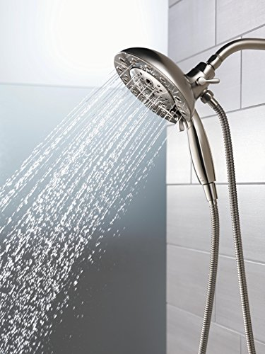 Delta 58480-SS-PK 5-Spray H2Okinetic In2ition 2-in-1 Hand Held Shower Head with Hose and Magnetic Docking, Stainless