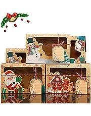 Kerst Cookie Boxes 12 Stks Gift Boxes Cupcake Box met Clear Window Paper Xmas DIY Gift Cake Box traktaties Dozen DIY Cake Boxes met Tags voor Kerstmis Vakantie Thanksgiving Verjaardagsfeestje