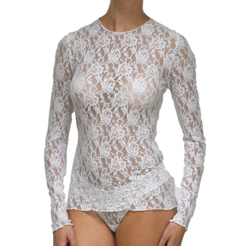 Hanky Panky Women's Signature Lace Unlined Long Sleeve Top Marshmallow MD