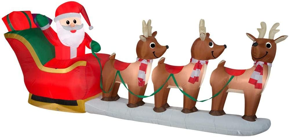 Home Accents Holiday 12 ft Pre-Lit LED Giant-Sized Inflatable Santa and Sleigh Scene