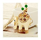 z starter socks - Winter's Secret Beige Elephant Hollow Out Beaded Fashion Pendant Necklace