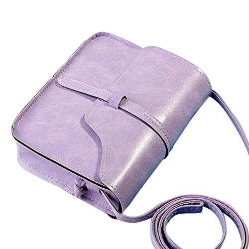 Vintage Crossbody,Clearance! AgrinTol Vintage Purse Bag Leather Crossbody Shoulder Messenger Bag (Pueple)