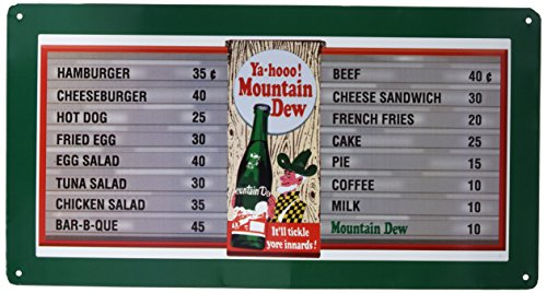 Mountain Dew Soda Menu Board Tin Sign 9 x 16in
