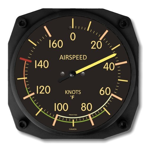 (Trintec Vintage Airspeed Indicator Thermometer 6.5 Square 9061VF)