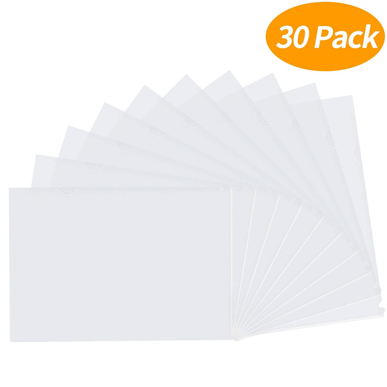 Senkary 30 Pack Clear Transparent Document Folder Project Pockets L-Type Plastic File Folder, A4 Size by Senkary