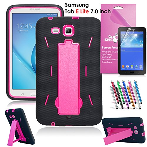 Samsung Galaxy Tab E Lite 7.0 Case, EpicGadget(TM) Heavy Duty Rugged Impact Hybrid Case with Build In stand Protection Cover For Galaxy Tab E 7 lite T113 + Screen Protector +Pen(US Seller)(Black/Pink)
