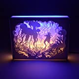 LED Night Light,Papercut Light Box for Adult Kids Baby Nursery,Decorative Lamp on Desk,With Usb Cable And Adapter(Underwater Diving)