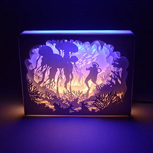 LED Night Light,Papercut Light Box for Adult Kids Baby Nursery,Decorative Lamp on Desk,With Usb Cable And Adapter(Underwater Diving) by JONYOU