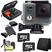 GoPro HERO+ LCD + 64GB Memory Card + Case for GoPro HERO4 and GoPro Accessories + 6pc Starter Kit Bundle