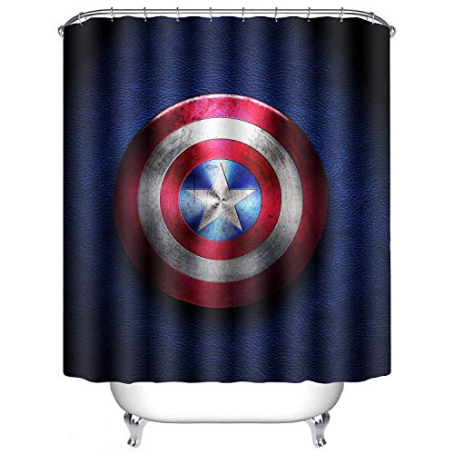 AWRFYAFT Captain America Shower Curtain Waterproof Mildew Polyester Fabric 12 Pack Plastic Hooks 60X72 Inches -