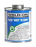 Weld-On 10165 Aqua Blue 725 Medium-Bodied Wet 'R Dry PVC Professional Industrial-Grade Cement, Extremely Fast-Setting, Low-VOC, 1 quart Can with Applicator Cap by Weldon