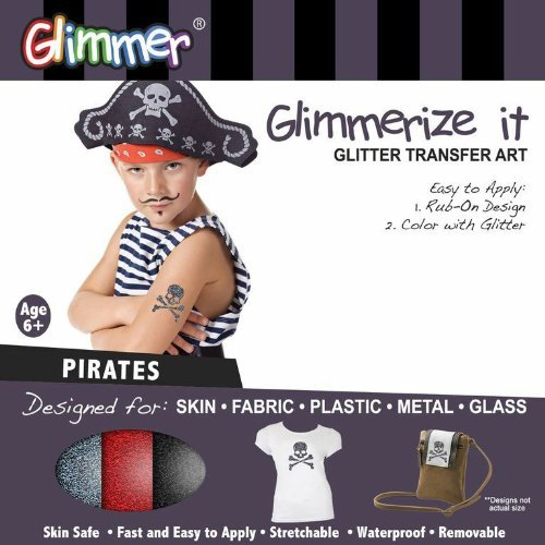 Pirates Glimmerize It Glitter Tattoo Transfer Art Kit for Skin Fabric Plastic Metal Glass