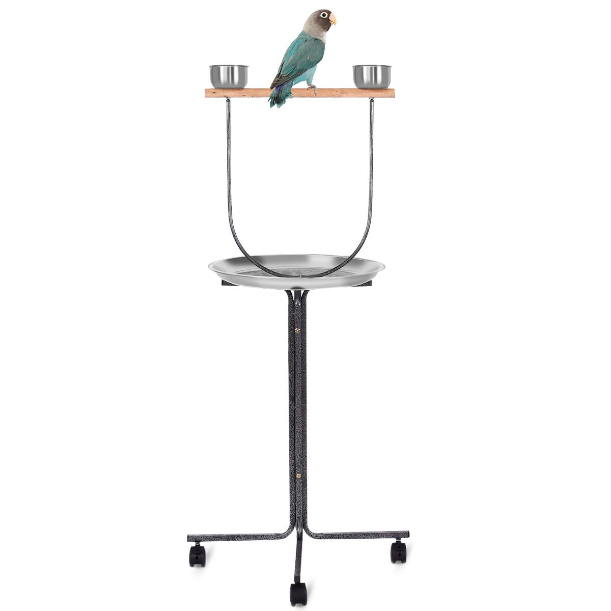 PETSJOY Bird Perch Stand Stainless Steel Parrot Training Perch Stand with Feeding Bowls & Potty Tray & Wheels, Large Parrot Play Stand, Height 51'' Inch by PETSJOY
