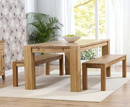 madrid 2m solid oak dining table with 2 solid oak benches amazon co rh amazon co uk Kitchen Table Benches with Backs Kitchen Sets with Benches
