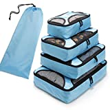 Travel Packing Organizers - Clothes Cubes Shoe Bags Laundry Pouches For Suitcase Luggage, Storage Organizer 5 Set Color Light Blue