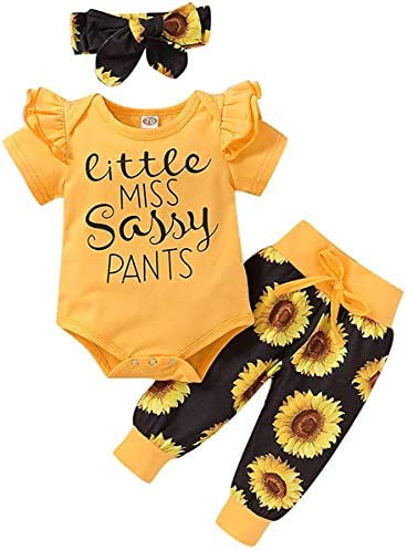 Newborn Baby Girl Clothes Ruffle Sleeveless Romper Bodysuit +Pants + Headband 3 PCS Outfits Set