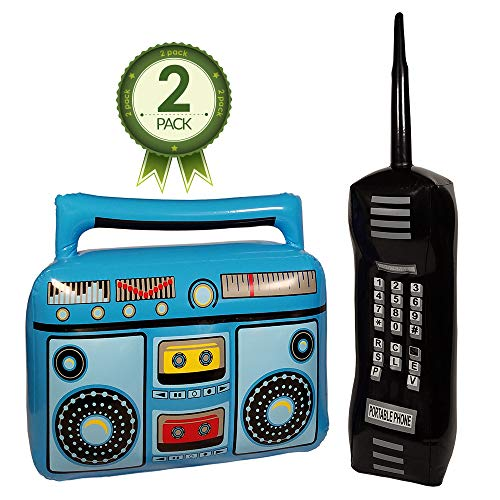 NorNovelties Inflatable Boom Box & Phone - 80s & 90s Party Accessories for Men & Women - Brick Cell