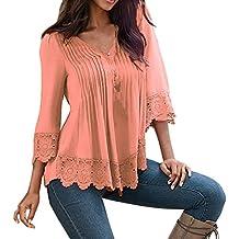 Shinekoo Women V-neck Plus Size 3/4 Sleeve Lace Shirt Loose Top Blouse