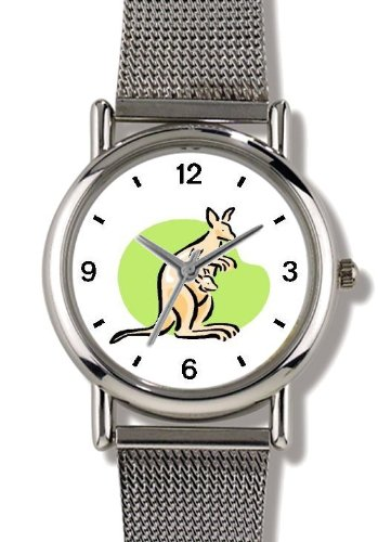 Kangaroo with Joey (Baby) No.3 (Cartoon) - Australia Theme - WATCHBUDDY® ELITE Chrome-Plated Metal Alloy Watch with Metal Mesh Strap-Size-Small ( Children's Size - Boy's Size & Girl's Size )