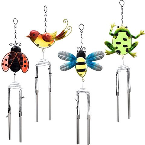 Spring Floral Garden Decorative Metal insects Wind Chimes 3 Piece Set Frog Butterfly Bee Hummingbird