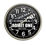 New Silver Finish Round Wall Hanging Clock featuring Admit One Movie Tickets Themed Logo