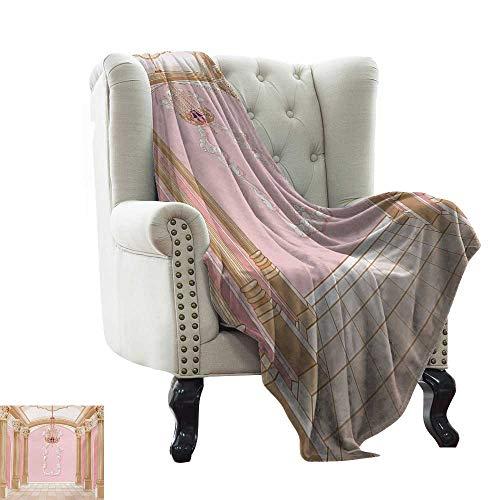 BelleAckerman Bed Blanket Princess,Interior of The Ballroom Magic Castle Chandelier Ceiling Columns Kingdom Print,Rose Peach Warm Microfiber All Season Blanket 60