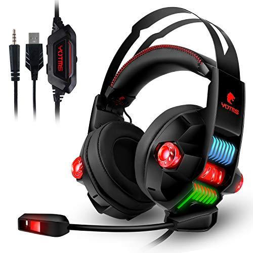ATUTEN Gaming Headset, 4 Lautsprecher Kopfhörer USB Virtual 7.1 Stereo Sound Kopfhörer mit Noise Cancelling Mikrofon…