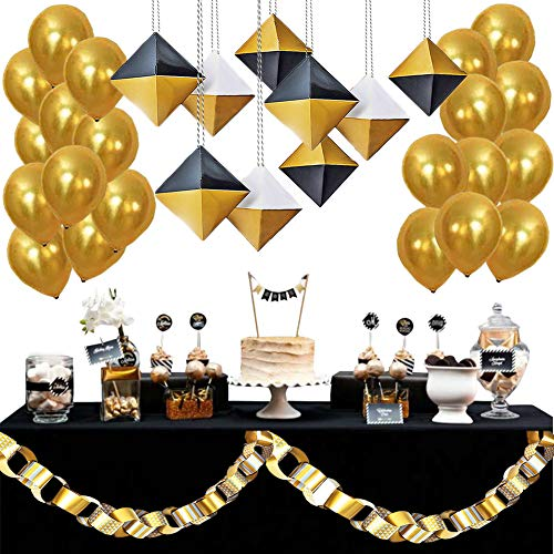 Tigerdoe Black and Gold Party Decorations - Birthdays,