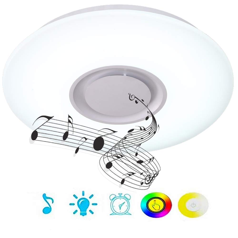 Upgrade 36w led ceiling lights with bluetooth speaker smartphone app dimmable 19 7 inch music rgbw color temperature adjustable 80w fluorescent
