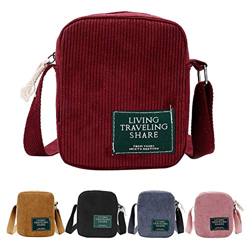 AuSion Small Corduroy Crossbody Bag Cell Phone Purse Shoulder Messenger Handbags for Women Girl Outdoor Travel, Red