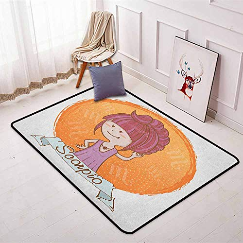(Zodiac Scorpio Super Soft Round Home Carpet Cartoon Style Illustration of a Girl with a Scorpion Tail Hairdo for Kids for Sofa Living Room W47.2 x L63 Inch Multicolor)