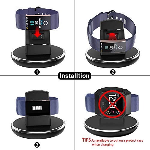 EPULY for Fitbit Charge 3 Charger with Watch Bands, Charging Stand Dock with 3 ft Fast Charging Cable for Fitbit Charge 3