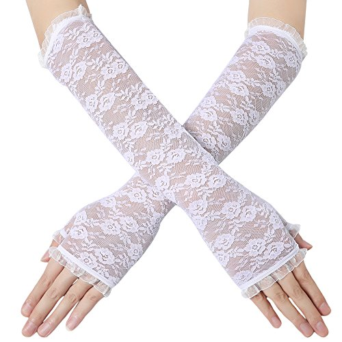 """BABEYOND Long Floral Fingerless Lace Gloves for Wedding 20s Opera Party Lace Gloves Stretchy Adult Size Elbow Length 16.5"""" (Long Fingerless-White)"""