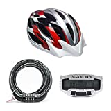 Green Monday Deal! Cycling Helmet Combo (Helmet/4 Digit Code Bicycle Security Lock 8mmx1200mm/sensors Lcd Backlit Bicycle Speedometer Odometer Computer Rainproof (Red/blue/silver)