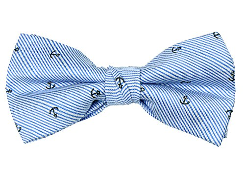 Spring Notion Boys' Pre-tied Woven Bow Tie Large Blue Silver ()