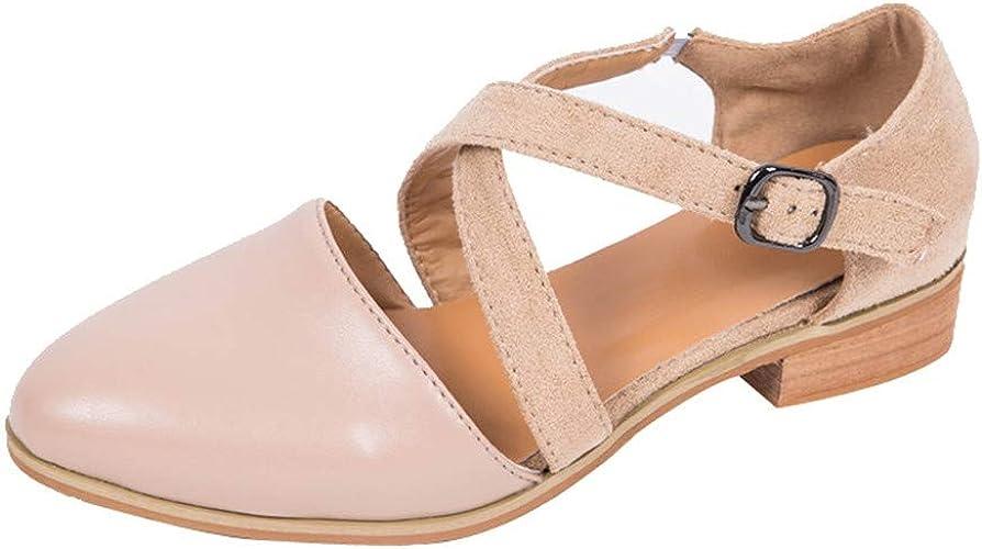 ZEZKT Sandales Femmes Plates Pointu Boucle Bohême Sandales