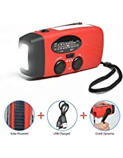 Odoland Radio Multifunktion Outdoor Radio –Taschenlampe+Radio+Powerbank Handy-Lader, tragbar Kurbel/Dynamo+Solar+Standard/Mini USB, Kurbelradio FM/AM Notfallradio