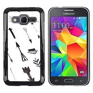 Be Good Phone Accessory // Dura Cáscara cubierta Protectora Caso Carcasa Funda de Protección para Samsung Galaxy Core Prime SM-G360 // Paper Hand White Gray Deep