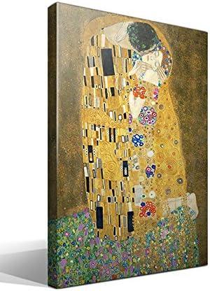 Cuadro Canvas El Beso de Gustav Klimt - Ancho: 40cm - Alto: 55cm - Bastidor: 3cm - Imagen alta resolución - Impresión sobre Lienzo de Algodón 100% - Bastidor de madera 3x3cm - Fabricado en España