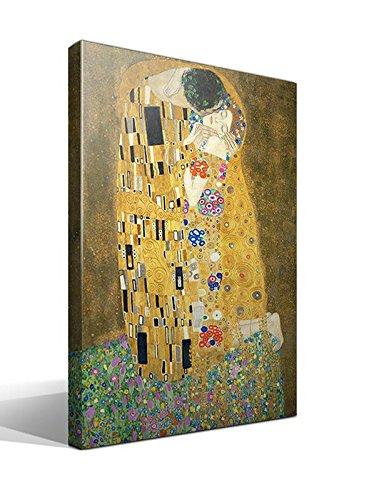 cuadrosfamosos es - Cuadro wallart - El Beso de Gustav Klimt - Impresion sobre Lienzo de Algodon 100% - Bastidor de Madera 3x3cm - Ancho 70cm - Alto 95cm