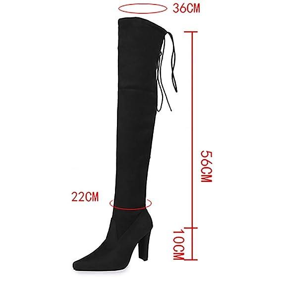 Botines Mujer, JiaMeng Botas para Mujer Mujer Alta Pierna Plana Botas Altas Delgadas Sobre la Rodilla Botas Zapatos Altas con Tacones de Gamuza Zapatos: ...